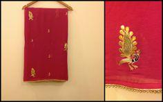 cute peacock gotta patti motifs all over.Buy this saree on https://www.facebook.com/Asmara.india/photos/a.755861627778345.1073741836.608698275828015/755875214443653/?type=3&theater