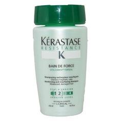 Kerastase Bain DE Force (select option/size)***Size: 8.5 oz..One 8.5-ounce bottle of hair shampoo,Contains vita-ciment complex to fortify weak and fragile hair,Gently cleanses and leaves hair soft and supple,Safe for chemically treated hair,Never tested on animals,.