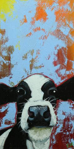 Cow painting 1186 12x24 inch original animal portrait by RozArt