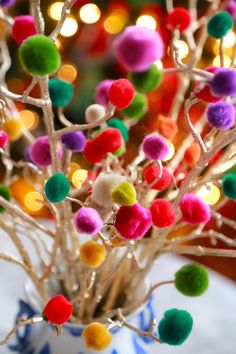 christmas craft pom pom christmas branches DIY- from Aunt Peaches blog