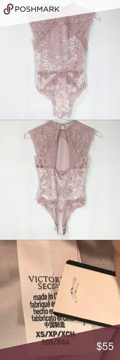 25e326d21a5 Victoria s Secret Velvet Bodysuit Open back Crushed velvet Snap crotch Lace  shoulders Hook closet neck Approximate