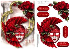Romantic Red Roses Valentines Masque on Craftsuprint designed by Anne Lever - This lovely topper features a gorgeous red valentines masque, embellished with romantic red roses, on a fancy golden frame. It has a single layer of decoupage to add depth and four greetings to choose from. The greetings are be mine, i love you, to my wife and be my valentine.  - Now available for download!