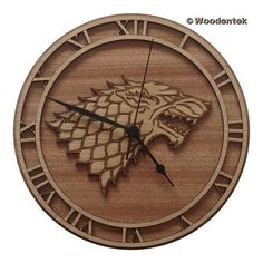 Handmade Game of Thrones Wood Wall Clock - House Stark