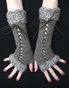 Knit Fingerless Gloves Long Wrist Warmers Taupe/ Grey by LaimaShop, $38.00