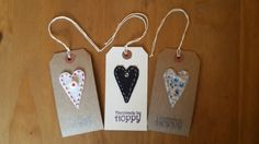 Heart Gift Tags - Pack of 3 by HandmadeByHoppy on Etsy