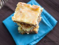 Butter Pecan Cake Mix Squares | These are the perfect dessert bars to make for potlucks and bake sales!