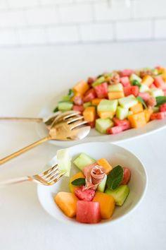 Recipe Box: Cubed Melon and Prosciutto Salad (Lauren Conrad) Cube Recipe, Recipe Box, Cubes, Salad Recipes, Healthy Recipes, Tasty, Yummy Food, Prosciutto, Food Porn