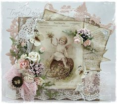 """Vintage Card by LLC DT Member Tracy Payne, using papers and image from Pion Design's """"A Day in May"""" collection."""