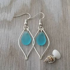 Made in Hawaii, Wire Turquoise Bay blue sea glass earrings, 925 sterling silver hook, Beach jewelry gift. by yinahawaii on Etsy