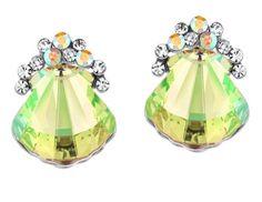 Swarovski Crystal Fashion Auden Green Rhinestone Stud Earrings:Amazon.co.uk:Jewellery