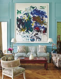 Parish-Hadley Tree of Life - Design Chic - the abstract art if incredible in this Bunny Williams designed room