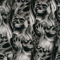 Hear no evil. Speak no evil. See no Evil. Evil Skull Tattoo, Evil Tattoos, Demon Tattoo, Skull Tattoos, Body Art Tattoos, Sleeve Tattoos, Punisher Skull Tattoo, Key Tattoos, Yakuza Tattoo