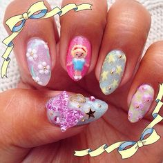 Polly Pocket inspired nails - @Raqstarnails
