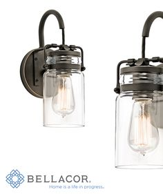 Clean lines and clear glass emphasize the industrial style of this wall lantern from the Brinley collection. http://www.bellacor.com/productdetail/kichler-45576oz-brinley-olde-bronze-one-light-wall-sconce-1561667.htm?partid=social_pinterestad_1561667
