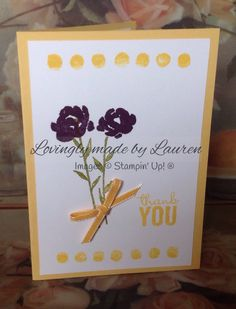 Painted petals Thank You card