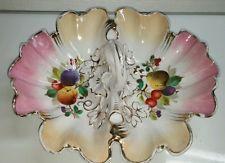Carl Tielsch CT handpainted fruit divided bowl. Vintage Germany with loop handle
