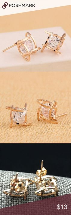Hollow square zircon gold stud earrings So simple, so pretty! Dress up or down. Gold Hollow square zircon studs. Jewelry Earrings