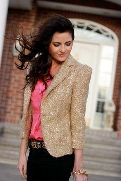 Leopard Belt with Gold Sparkle Blazer.
