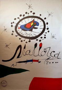 Mallorca Spain, 1973 - original vintage poster for Majorca by Joan Miro listed on AntikBar.co.uk