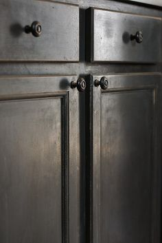 gray paint on the cabinets is Sherwin Williams Iron Ore. I distressed them lightly and then coated them in Tudor Brown Briwax. Brown Paint Colors, Gray Paint, Paint Colors For Home, House Colors, Brown Cabinets, White Kitchen Cabinets, Furniture Refinishing, Painted Furniture, Countertop