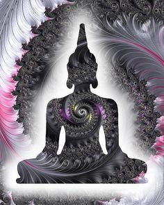 Silver black Buddha print pink gray Buddha by theartofthematrix