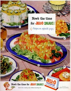 Now's the time for Jell-O salads! Don't let a week go by without serving one. Recipes below: 1. Jellied Potato Salad 2. Carrot and Apple Salad 3. Vegetable Salad Mold 4. Peach and Cheese Salad 5. Emerald Macedoine Salad 6. Jell-O Cabbage Relish 1. Jellied Potato Salad recipe Dissolve 1 package Lemon Jell-O in 1-1/4 …