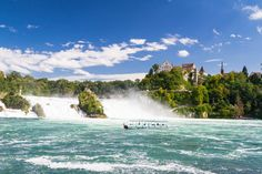 The Rhine Falls in Schaffhausen, Switzerland. The Rhine Falls is the largest waterfall in Europe. Rhine Falls Switzerland, Switzerland Cities, Switzerland Itinerary, 3 Days Trip, Largest Waterfall, Road Trip Europe, Adventure Activities, Zurich, Day Tours