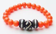 Neon Beaded Bracelet Made with Shocking Orange by rockstarsz, $23.99