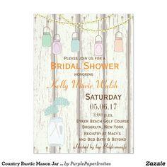 Country Rustic Mason Jar Bridal Shower Invitation