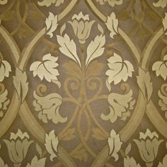 Delicious Mocha Gothic Arts & Crafts Voysey Pugin Art Nouveau Damask Drapery & Upholstery Fabric by the yard