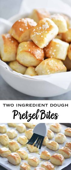 Two Ingredient Dough Pretzel Bites are SUPER EASY to make with no yeast and no waiting for the dough to rise. Just mix the dough, cut nuggets, dip in baking soda water and bake! snacks for a party Two Ingredient Dough Pretzel Bites - The Gunny Sack Art Du Pain, Yummy Snacks, Yummy Food, Savory Snacks, Healthy Tasty Snacks, Baking Soda Water, Appetizer Recipes, Party Appetizers, Easy Party Snacks