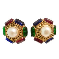 Vintage Signed Chanel Gripoix Glass & Faux Pearl Earrings 1990s