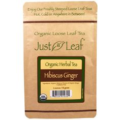 Just a Leaf Organic Tea, Hibiscus Ginger, 2 oz (56 g)