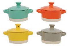 "Round Stoneware Mini Bakers, 3.25"""