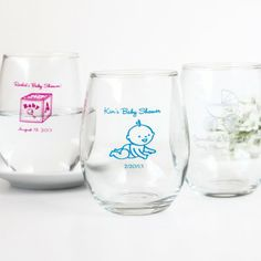 Personalized Baby Shower Wine Glasses Great gift and can be used at the shower