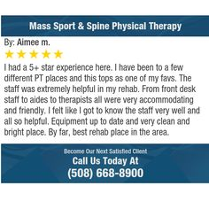 I had a 5+ star experience here. I have been to a few different PT places and this tops as...