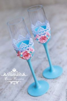 Wedding glasses / Свадебные аксессуары ручной работы. Ярмарка Мастеров - ручная работа. Купить Свадебные бокалы. Свадебные фужеры.. Handmade. Голубой