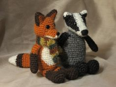 badger crochet, fox crochet badger could changed to skunk I think? Cause what kid knows what a badger is?
