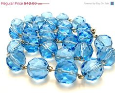 32% Off Blue Glass Bead Necklace Sterling by TheJewelryLadysStore
