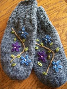 embroidered wool mittens
