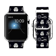 Apple Watch Band 38MM 100% Leather Stainless Steel Connector iWatch Bands for Apple Watch 38mm - The cartoon Star Wars * Read review @ http://www.amazon.com/gp/product/B01932FK00/?tag=superheroes025-20&uv=160816074544