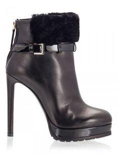 bd95fbbeacc Vicini - BAT Black vitello leather fur calf buckle strap stiletto heel  platform booties  ViciniShoes  GiuseppeZanotti  Ankleboots