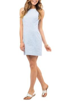 be32f809233 Belmont Seersucker Dress in Boat Blue by Southern Tide