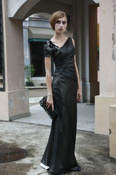 Black Chiffon Asymmetrical Evening Dress - $276.00. http://www.youngrepublic.com/women/dresses/evening/black-chiffon-asymmetrical-evening-dress.html