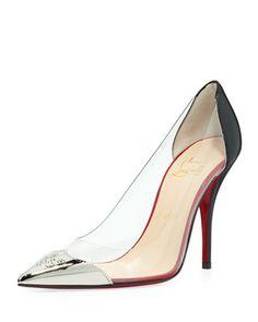 sole pump, christians, red sole, djalouzi pvc, pumps, pvc capto, christian louboutin, shoe, black