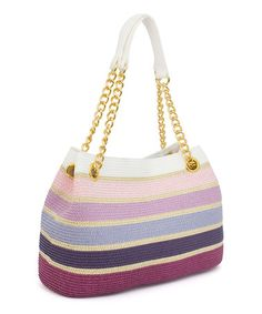 This carryall bag leaves no essential behind with its roomy interior and sturdy gold handles. Crochet Handbags, Crochet Purses, Crochet Bags, Rainbow Bag, Sweet Bags, Lavender Bags, Carry All Bag, Crochet Shoes, Tapestry Crochet