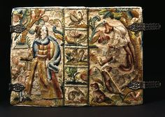 Embroidery showing the Old Testament story of Abraham, Hagar and Ishmael. Holy Bible, printed in London in 1651