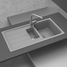 Rangemaster Andesite Bowl Granite Igneous Ash Sink & Waste Kit with Reversible Drainer - 1000 x Grey Kitchen Sink, Cast Iron Kitchen Sinks, Kitchen Mixer, Kitchen Taps, Granite Kitchen, Kitchen Stuff, Granite Composite Sinks, Composite Kitchen Sinks, Titanium Granite
