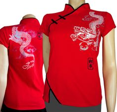 Red Dragon. Snug-fitting, sexy Chinese top with wraparound dragon motif comes in all-cotton, roaring red top. Bias-cut jersey has comfortable mandarin collar, red piping, and hand-tied buttons. Four-way stretch with impressive 'kick-back' means you will not get any bagging in the bust or other snug-fitting areas. Pre-washed to ensure minimal shrinkage, machine-washable. Hang dry to keep your colors richer for longer.