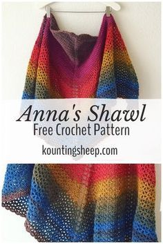 "Crochet Top Patterns Anna's Shawl [Free Crochet Pattern] – Kounting Sheep - In January I created and published a pattern called ""Anna's Shawl."" I was still very inexperienced in my pattern writing, but it quickly became my most popular pattern to da… Crochet Prayer Shawls, Crochet Shawls And Wraps, Crochet Scarves, Crochet Yarn, Free Crochet, Crochet Vests, Crochet Shirt, Crochet Dresses, Crochet Cardigan"